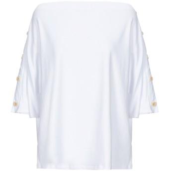 《セール開催中》RUE8ISQUIT レディース T シャツ ホワイト S コットン 95% / ポリウレタン 5%