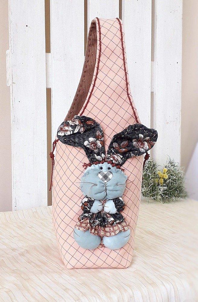 立體大耳兔 環保隨行杯飲料手提杯袋/大款