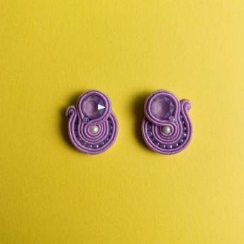 受注生産 イヤリング可能 金属アレルギー対応 パステルキュートピアス 藤紫