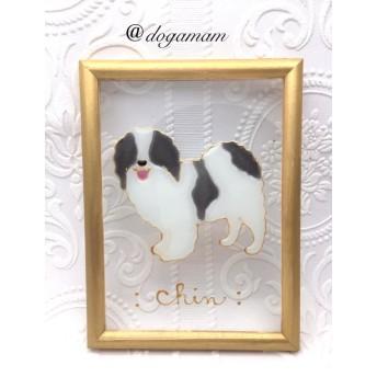 DOG. AM グラスアートフレーム 狆 ブラックホワイト