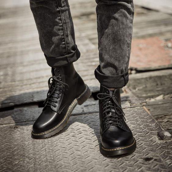 軍靴 馬丁靴男潮英倫風皮靴中高筒軍靴加絨工裝短靴子男馬丁鞋百搭真皮 MKS