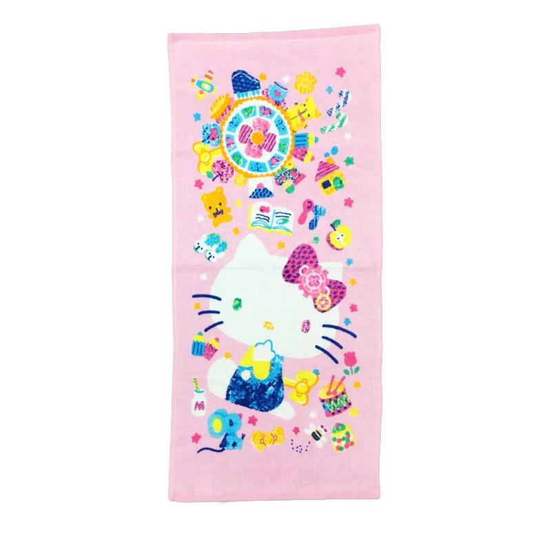 【Sanrio三麗鷗】繽紛凱蒂貓毛巾 100%棉 33x76cm