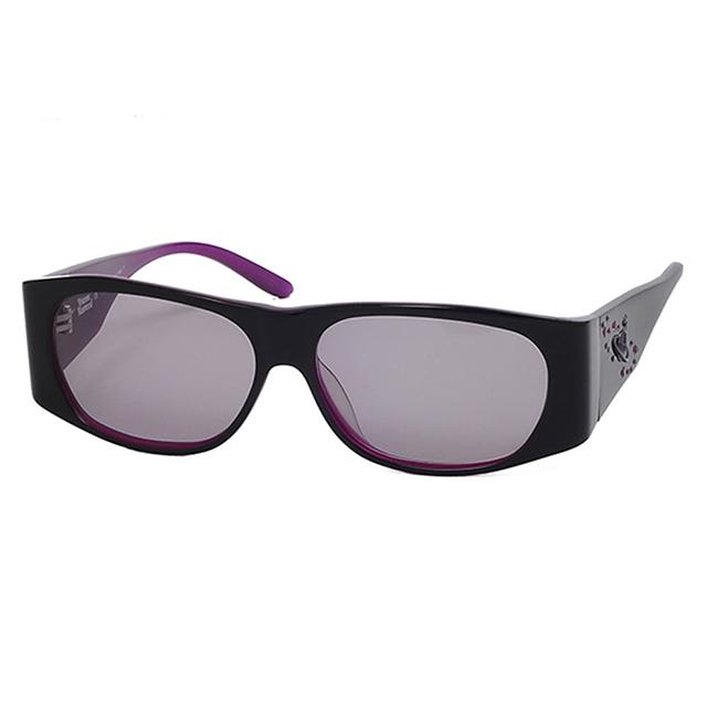 【Vivienne Westwood】英國精品時尚類運動鑽飾方框系列造型太陽眼鏡(VW59401-黑紫)