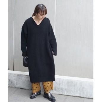 journal standard luxe ファインメリノアゼ Vネックワンピース◆ ブラック フリー