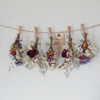 ボリュームバラと彩り小花のドライフラワーガーランド/かすみ草 千日紅
