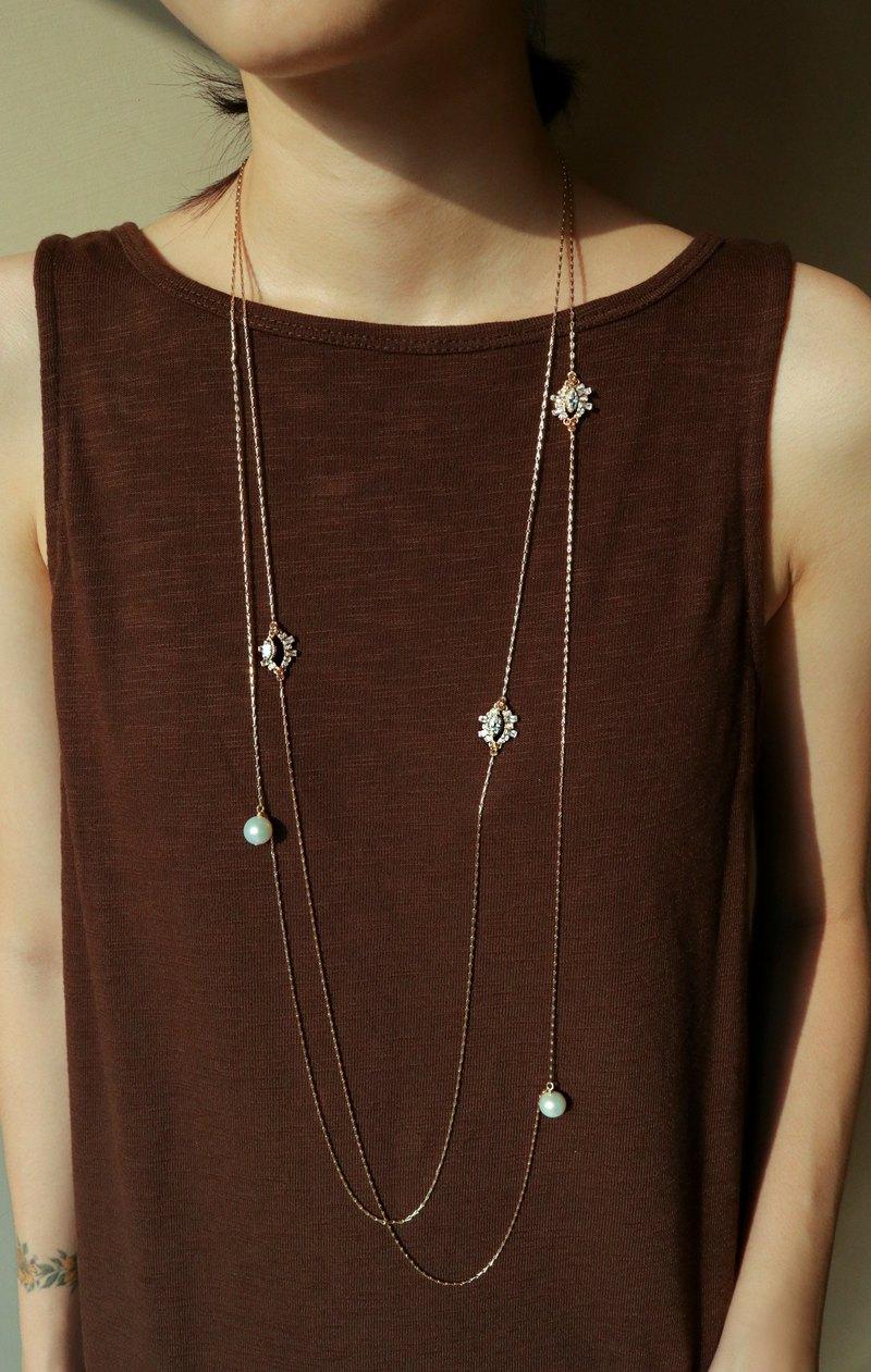 HoruseyeEgypt荷魯斯之眼珍珠18k金色長鍊—兩款樣式