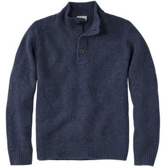 ウォッシャブル・ラムウール・セーター、ボタン・モック/Washable Lambswool Sweater, Button Mock