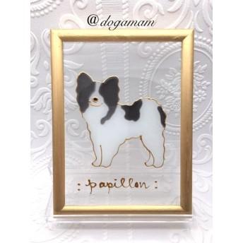DOG. AM グラスアートフレーム パピヨン ブラックホワイト