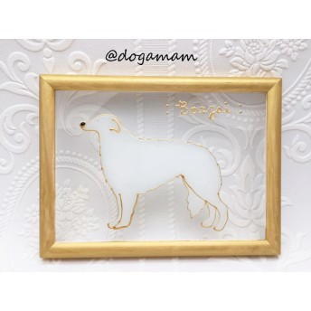 DOG. AM グラスアートフレーム ボルゾイ ホワイト