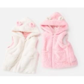 2019秋冬の新型ブランド子供服韓国版の女の子用綿のベストに厚い保温ウサギの耳と帽子の子供用ベスト