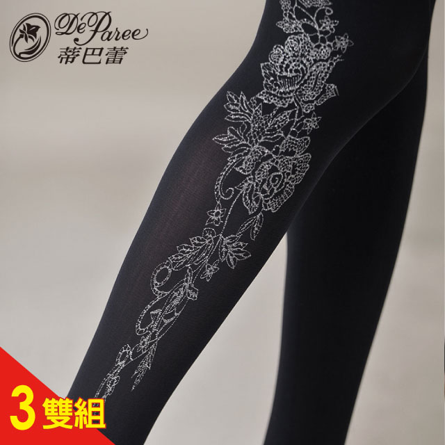 蒂巴蕾120D超細纖維天鵝絨全彈性褲襪-甜美花朵 3雙組