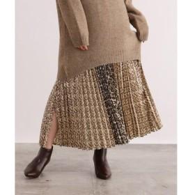 OZOC / オゾック [洗える]柄切替プリーツスカート