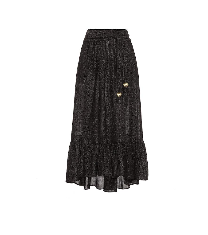 Nicole linen-blend gauze midi skirt