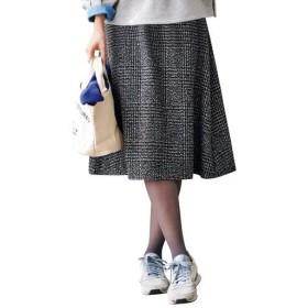 【レディース】 お腹あったかフレアスカート(インナーパンツ付き・選べる2レングス) ■カラー:ブラック系チェック ■サイズ:L(総丈68)