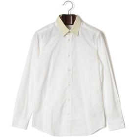 【74%OFF】襟切替 長袖シャツ ホワイト xs