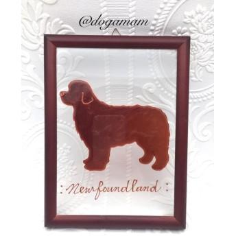DOG. AM グラスアートフレーム ニューファンドランド ニューファン チョコ