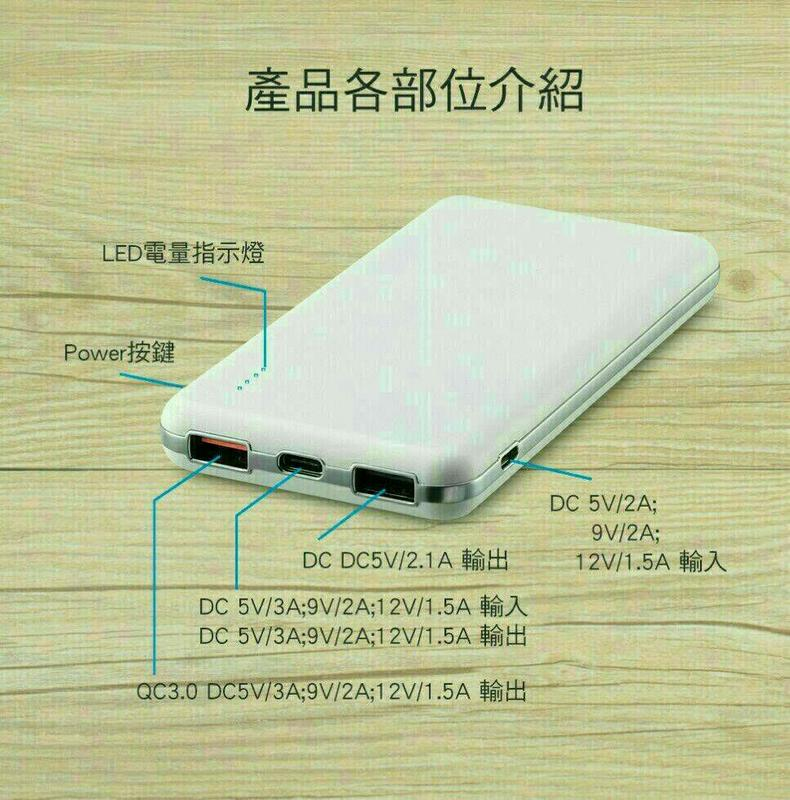 """""""扛壩子"""" MINIQ台灣製造12000mAh 三輸出 QC3 PD iPhone 快速充電行動電源移動電源備用電池"""