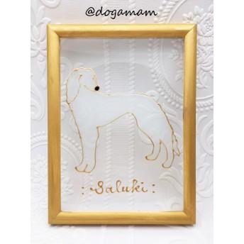 DOG. AM グラスアートフレーム サルーキ ホワイト