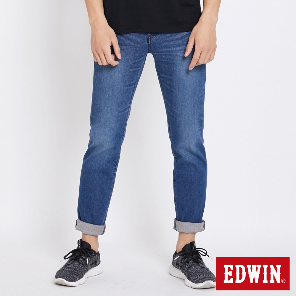 EDWIN 加大碼503 BASIC 窄管牛仔褲 ( 石洗藍)-男款