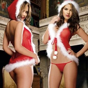 【送料無料メール便】クリスマスランジェリー セクシーなサンタクロース風のフード付きランジェリー Tバックショーツ付き