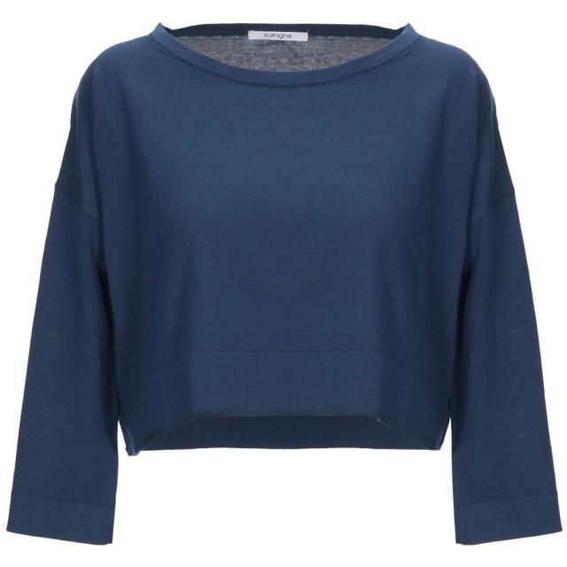 《セール開催中》KANGRA CASHMERE レディース T シャツ ブルー 42 コットン 100%