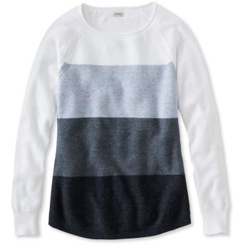 テクスチャード・コットン・セーター、長袖 カラーブロック/Textured Cotton Sweater, Long-Sleeve Colorblock