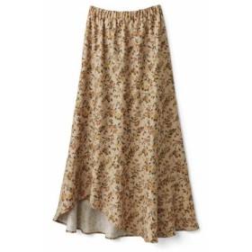 あったか裏地付き花柄ロングスカート〈ベージュ〉 IEDIT[イディット] フェリシモ FELISSIMO【送料無料】