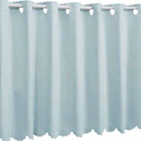 1級遮光 防炎 カフェカーテン 幅80×丈50cm 無地[9.12E+16](03.ベビーブルー, 幅 80×丈 50cm)