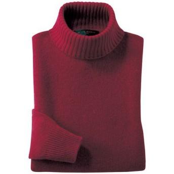 【レディース】 ウール100%洗えるタートルネックセーター ■カラー:ワイン ■サイズ:LL