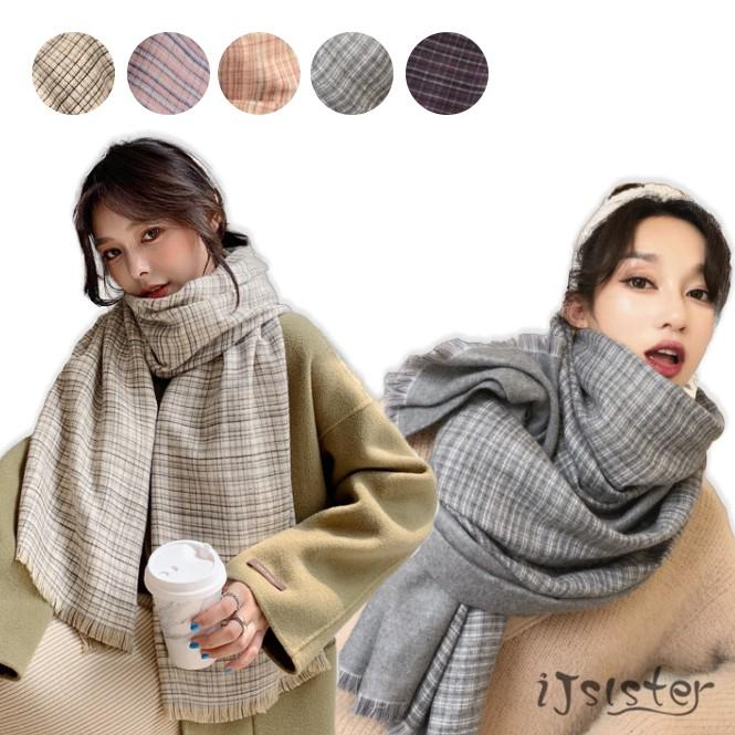 英倫風千鳥格子冬季加厚披肩兩用韓版針織百搭情侶圍巾(五色)