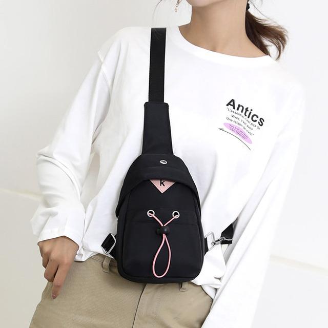 My Destiny韓流時尚防水斜背包胸包單肩包65089(黑色)