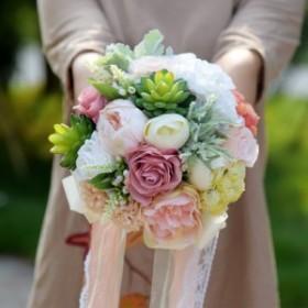 ウエディング ブーケ  造花 ギフト 結婚式  花嫁 花束 ブライダルブーケ パーティー インテリア 手作り