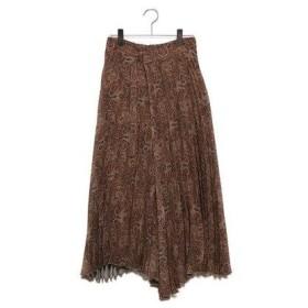 ミラオーウェン Mila Owen フロントデザインプリーツスカート (ブラウン)