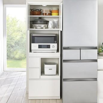 dポイントが貯まる・使える通販| 作業カウンター付きコンパクト食器棚 ハイタイプ 幅59cm 727727 【dショッピング】 キッチン収納・食品棚 おすすめ価格