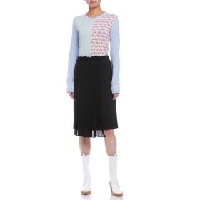 【85%OFF】シルク混プリーツ セミタイトスカート ブラック 38
