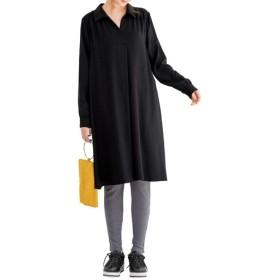 【レディース大きいサイズ】 スキッパーシャツチュニック ■カラー:ブラック ■サイズ:5L-6L,L-LL,3L-4L