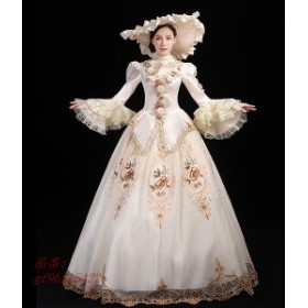 貴族 ドレス ステージ衣装 Aライン 長袖 お姫様 パーティー 大きいサイズ ファスナータイプ 中世貴族風 オペラ声楽 刺繍 舞台衣装 演奏会