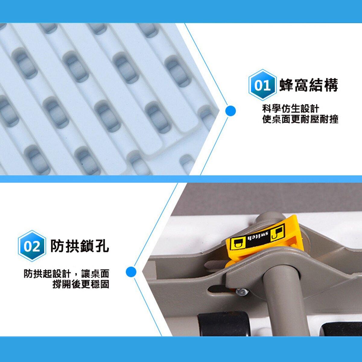 【 CSMART+】戶外多功能輕巧便攜好收納折疊桌 蜂窩結構更耐壓耐撞 (1.2米_4~6人)