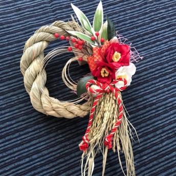 稲から育てたしめ縄・お正月飾り 紅白鹿の子斑