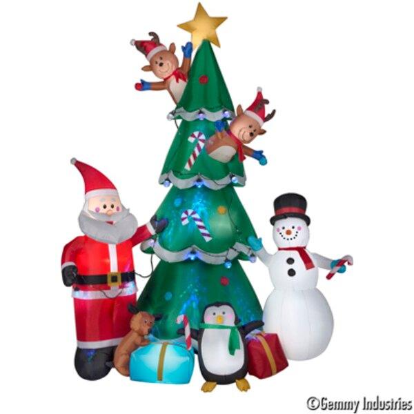 290cm有動作充氣-老公公雪人聖誕樹+萬花筒燈串,聖誕佈置/充氣擺飾好收納/聖誕充氣,X射線【X007925】