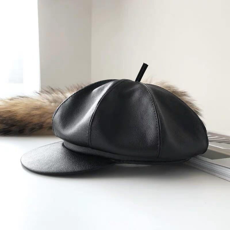網紅的皮革報童帽穿搭必備八角帽帥氣帽子貝蕾帽