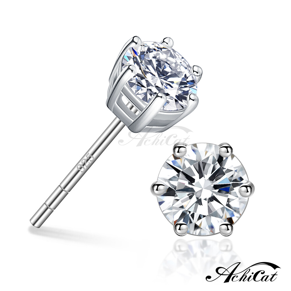 achicat 925純銀耳環 純銀飾 完美焦點 3mm/4mm 晶鑽耳環 gs6135