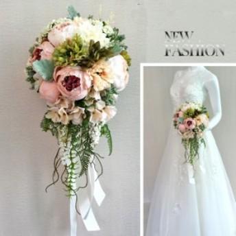 ウエディング ブーケ ロングブーケ  リボン ギフト 結婚式  花嫁 花束 ピンク ローズ ブライダルブーケ  手作り 造花
