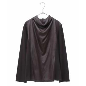 HIROKO BIS GRANDE 【洗える】異素材切り替えボトルネックカットソー Tシャツ・カットソー,ブラウン