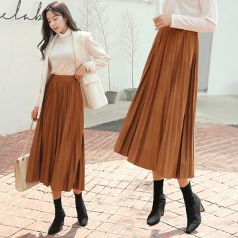 体型カバーに効く スウェード プリーツ ロングスカート 3-color