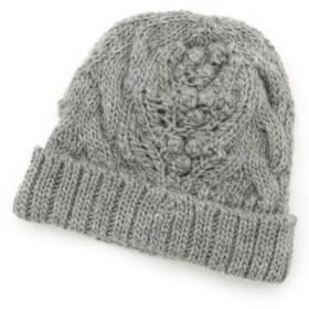 (HusHusH/ハッシュアッシュ)ポコポコアラン編みニット帽/レディース グレー(012)