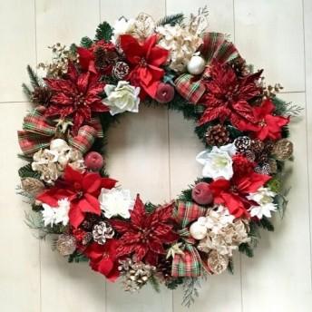 No. xmas-14341/特大クリスマスリース19-7(レッド&ゴールド)62cm/アーティフィシャルフラワー造花