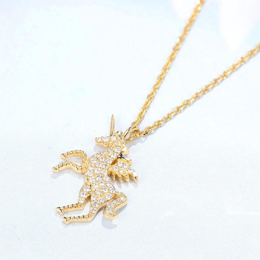 【巧品珠寶】18K 黃金 獨角獸 造型設計款 鑽石項鍊