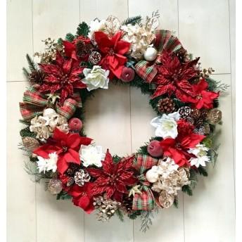 No. xmas-14341/★ 特大クリスマスリース/xmasリース 19-(7) レッド&ゴールド 62cm・アートフラワー/造花リース