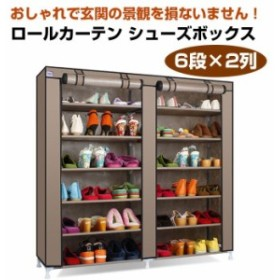 ロールカーテン シューズボックス 6段×2列 靴 ブーツ クローゼット 収納 目隠し 小物 衣類 大型商材